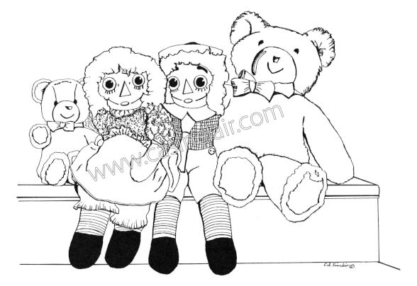 Teddy Bear with the Raggedys: Drawing